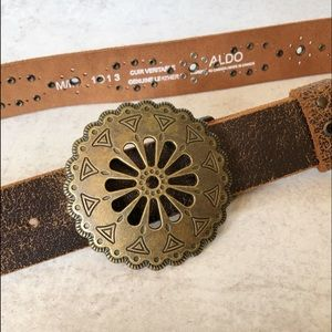 Aldo Genuine Distressed Leather Western Belt